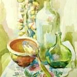Handmade watercolor kitchen still life — Stock Vector