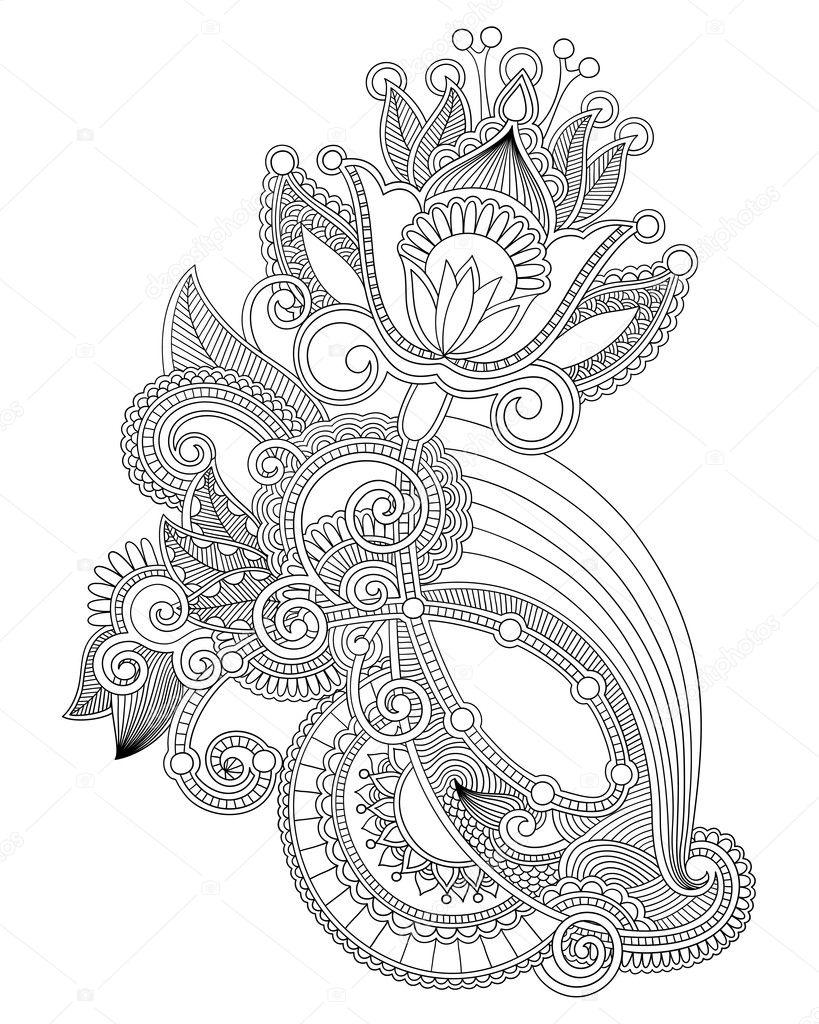 Line Art Ornate Flower Design : Line art ornate flower design — stock vector karakotsya
