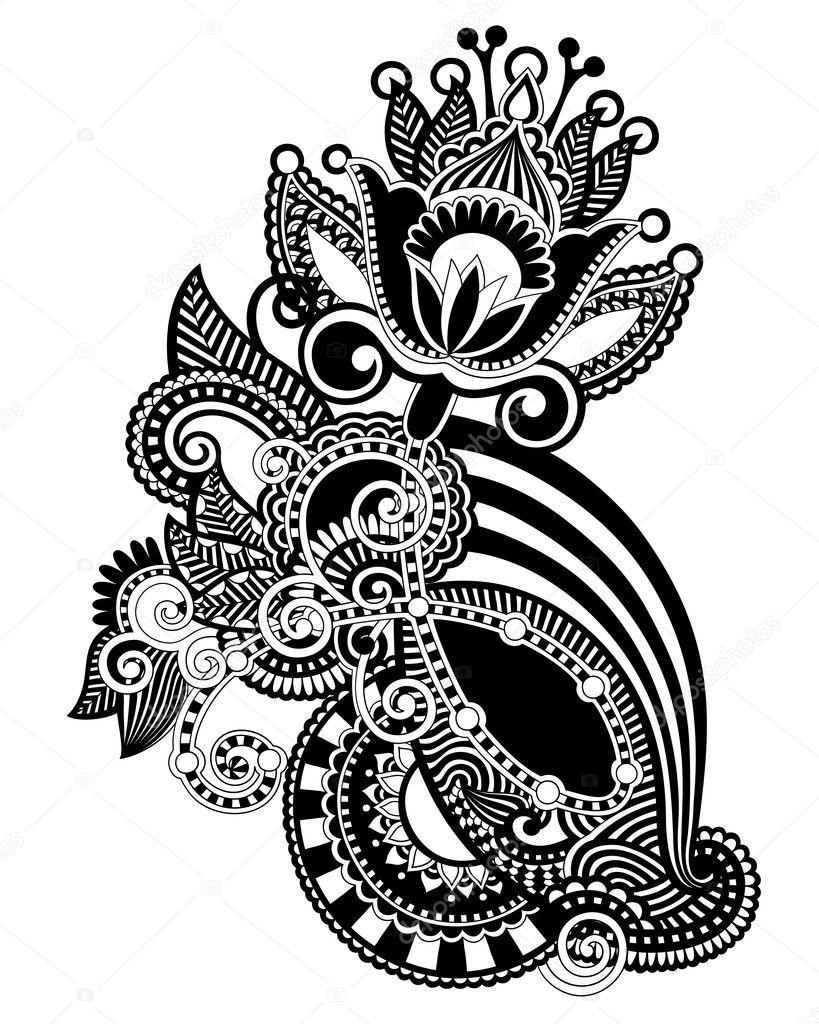 Line Art Typography : Line art ornate flower design — stock vector karakotsya