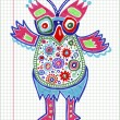 Doodle owl marker drawing — Stock Vector
