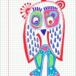 Doodle owl marker drawing — Stock Vector #9758447