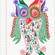 Doodle owl marker drawing - Stock Vector