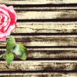 Grunge wood background with watercolor rose - Stock Vector