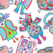 Doodle owl seamless pattern — Stock Vector