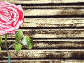 Grunge wood background with watercolor rose — Stock vektor