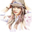Watercolor portrait of young women with a hat — Stock Vector
