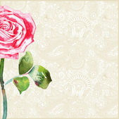 Ornate pattern with rose — Vector de stock