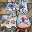Stock Photo: Two rabbits from clay sculpture folk art