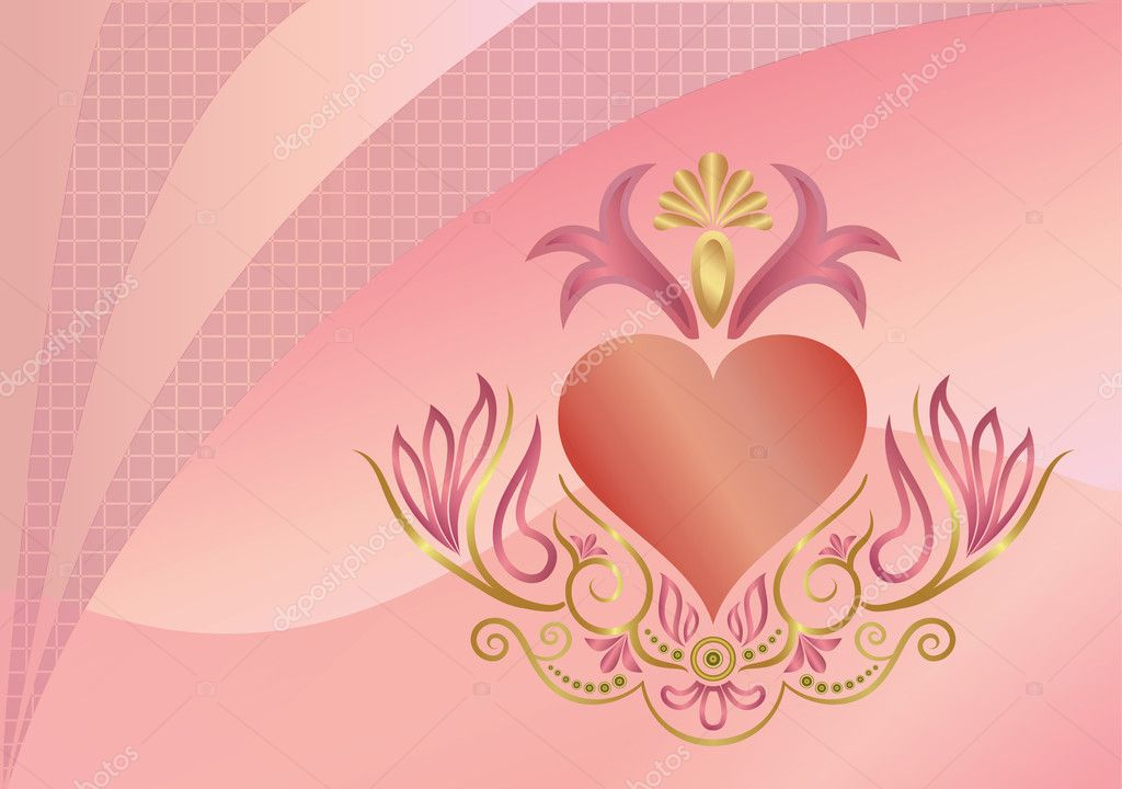 Background with heart and an ornament, vector Illustration — Image vectorielle #7990351