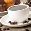 Stock Photo: Cup of coffee and chocolate cake