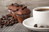 Cup of coffee and chocolate cake — Stock Photo