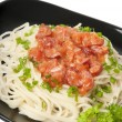 Spaghetti pasta with tomato sauce and sausage - Stock Photo