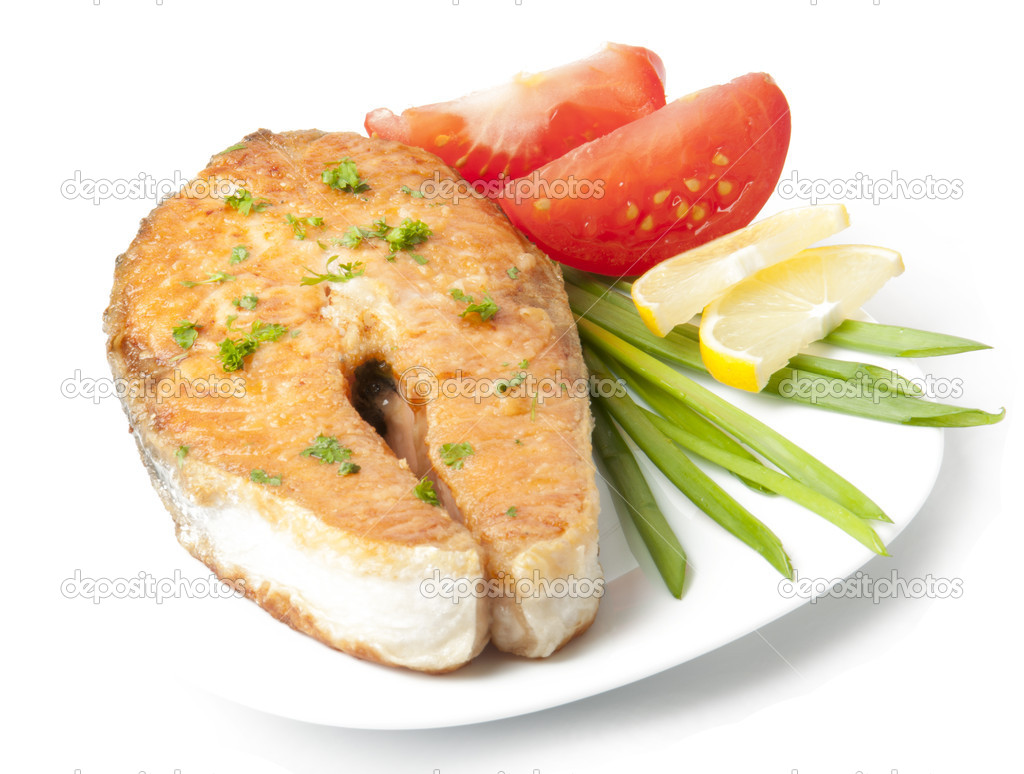 Grilled salmon steak — Stock Photo #8197676