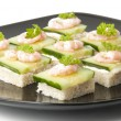 Stock Photo: Prawn cocktail appetizer with cottage cheese and cucumber