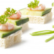 Prawn cocktail appetizer with cottage cheese and cucumber — Stock Photo
