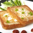 Toasted white bread with an egg — Stock Photo