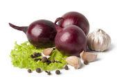 Czosnek i cebula warzywa z przyprawa sałatka na białym tle — Zdjęcie stockowe