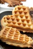 Waffle in heart shape isolated on black — Stock Photo