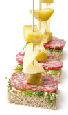 Canapes on skewers — Stock Photo