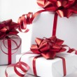 White gift boxes on white background — Foto Stock