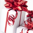 White gift boxes on white background — Stok fotoğraf