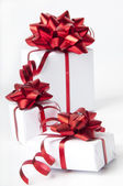 White gift boxes on white background — Stock Photo