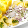 Portion of a herring with a potato and fennel — Stock Photo #8307421