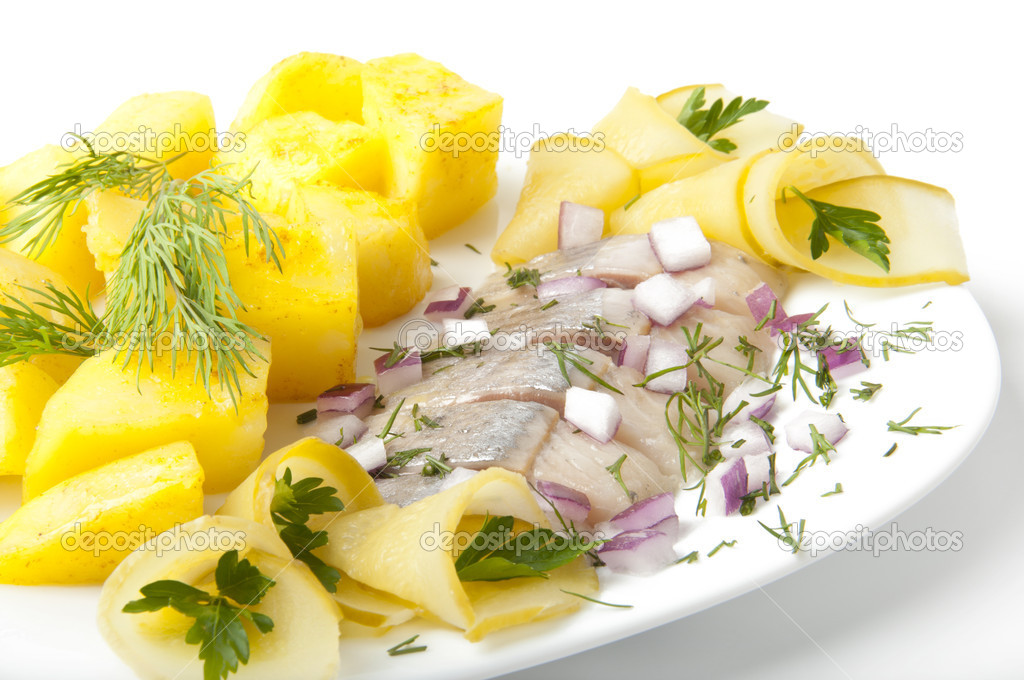 Portion of a herring with a potato and fennel  Stock Photo #8307426