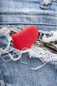 Heart in jeans — Stock Photo