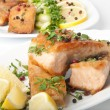 Fish dish - grilled salmon with vegetables — Stock Photo #8413187