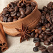 Coffee grains, an anise, cinnamon - Stock Photo