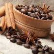 Grain coffee, anise and cinnamon - Stock Photo