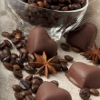 Stock Photo: Coffee beans and chocolate heart