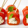 Canape with sweet peppers and cream cheese — Stock Photo