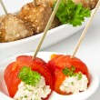 Appetizer meatballs and sweet peppers with cream cheese — Foto Stock