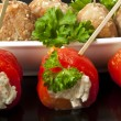 Appetizer meatballs and sweet peppers with cream cheese — Stockfoto