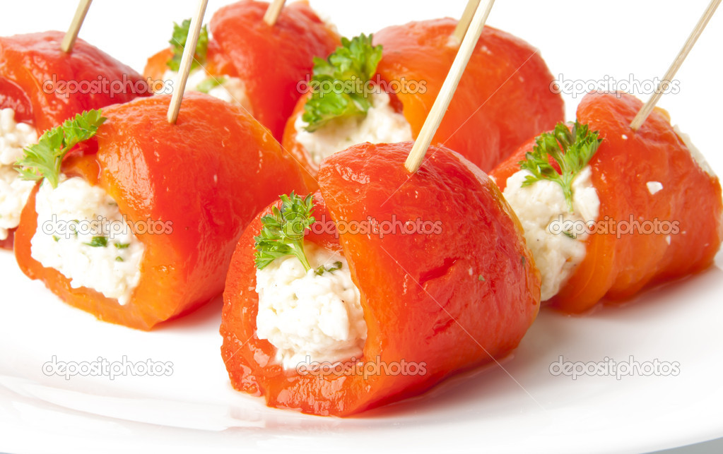 Canape with sweet peppers and cream cheese stock photo for Cream cheese canape
