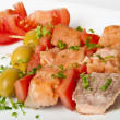 Close up of grilled salmon with vegetables — Stock Photo #8860046
