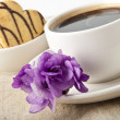 Stock Photo: Cup of coffee and cookies with chocolate and violet