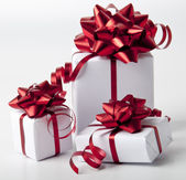White gift boxes on white background — Стоковое фото
