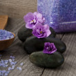 Royalty-Free Stock Photo: Stones with purple flower and lavender salt