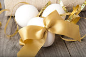 Easter eggs on a wooden background — Stock Photo