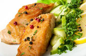 Fish dish - grilled salmon with vegetables — Stok fotoğraf