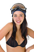 Happy young woman in underwear in the goggles — Stock Photo