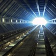 Sci-fi corridor leading to light — Stock Photo