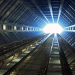 Stock Photo: Sci-fi corridor leading to light