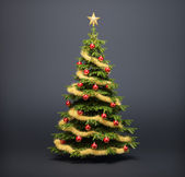 Christmas tree on a dark background — Stock Photo