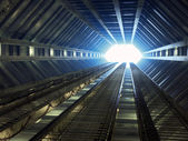Sci-fi corridor leading to light — Stock Photo
