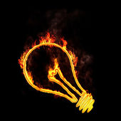 Flaming light bulb — Stock Photo