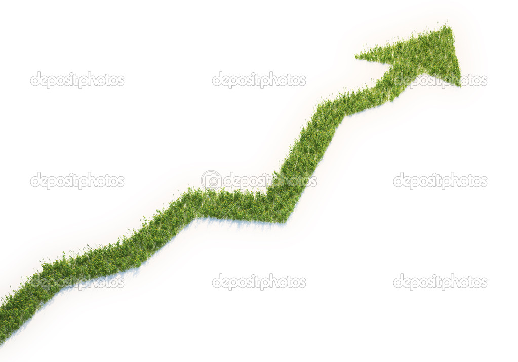 Grass patch shaped like a graph - eco business concept  Stock Photo #8019859